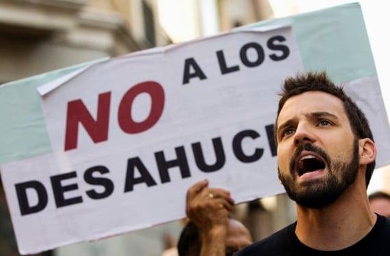 Protesta en contra de los desahucios en España