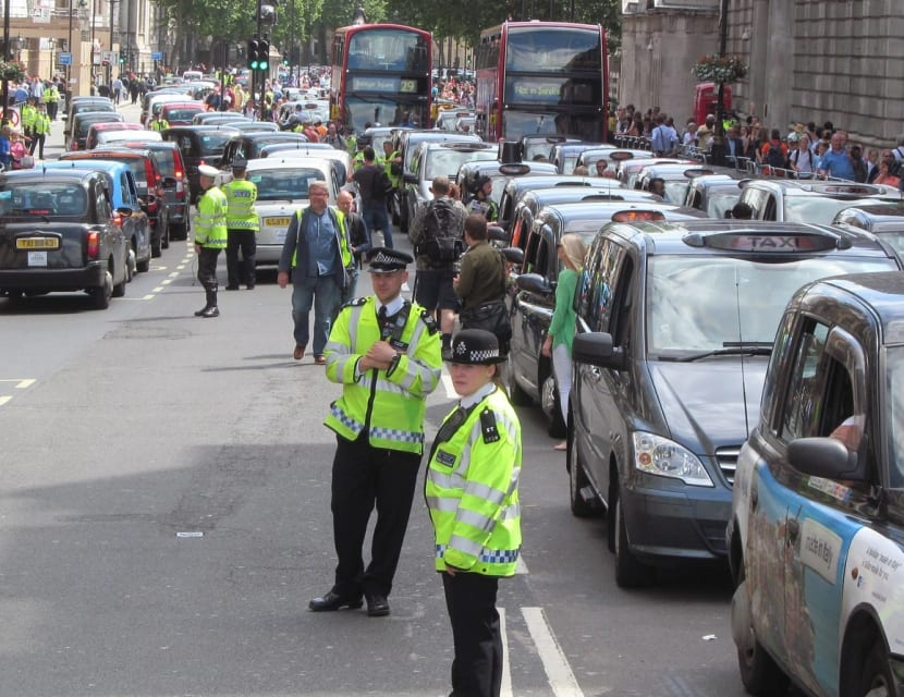 Protesta de taxistas contra Uber