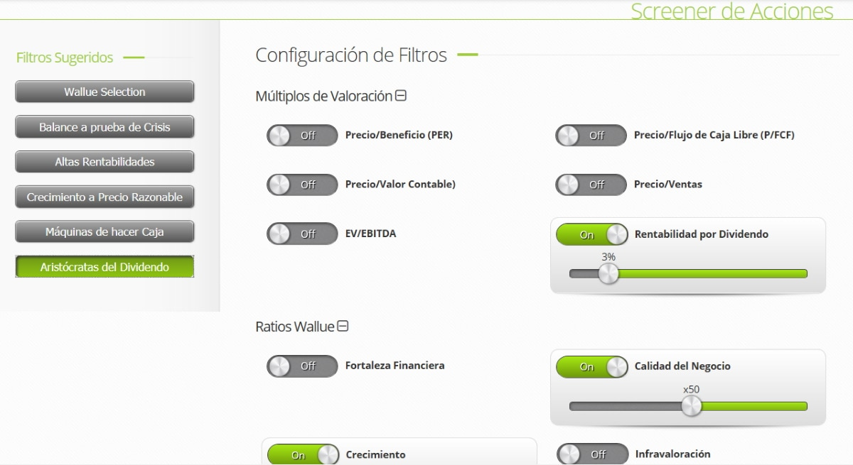 Screeners para analizar diferentes acciones financieras